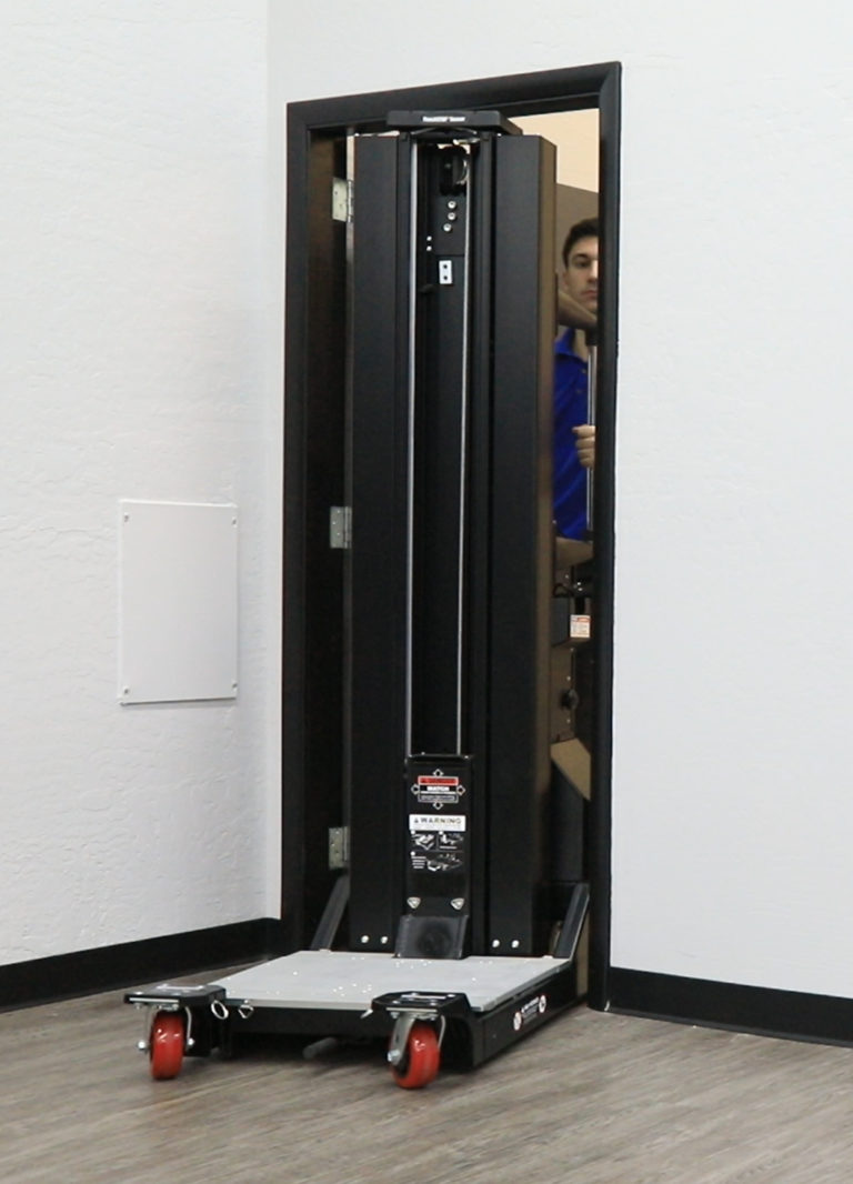 The lift's slim 24-inch (61 cm) base and oversized wheels smoothly navigate aisles, corners, and ramps while providing ample space for an operator — even in the narrowest of data center aisles. ServerLIFT's unique mast design keeps the retracted lift height low enough to fit through standard-size doorways and elevators.