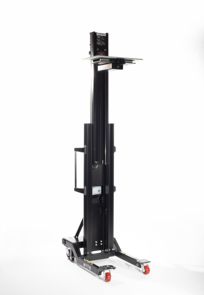 When fully extended, the mast lifts the platform equipment surface up to 8 ft (2.44 m) high to reach the highest racks (52U, or over 58U when used with the RL-500 Riser attachment). As an added safety feature in height-restricted environments, the TouchSTOPⓇ overhead sensor prevents both structural and equipment damage by stopping the lift motor on contact with the ceiling or other overhead obstructions.
