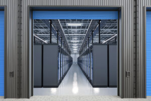 3d rendering server computers or mainframe computer in warehouse