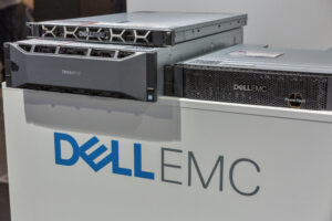 Dell EMC logo with Dell products featured