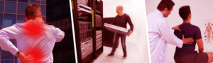people working in data centers with hurt backs from heavy lifting