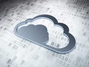 Cloud computing concept: Silver Cloud on digital background, 3d render